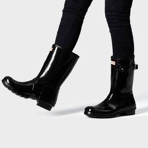 Hunter original short gloss rain boot in black